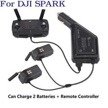 Cargador de coche 3 en 1 para batería DJI Spark y mando a distancia 2 baterías cargador Hub adaptador USB para DJI Spark cargador