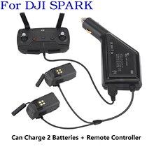 Carregador de carro 3 em 1 para dji spark, bateria e controle remoto, com 2 baterias, hub adaptador usb para dji spark carregador de carregador