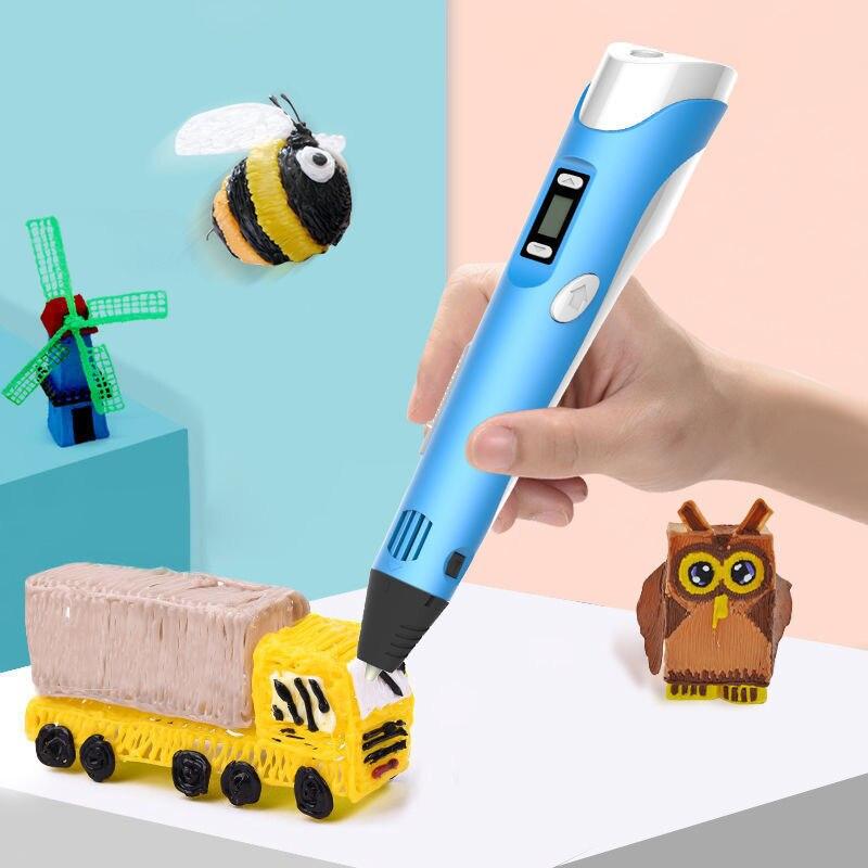 Caneta 3d caneta diy 3d caneta pintura led caneta crianças impressão 3d canetas para designer crianças desenho caneta presentes brinquedos educativos