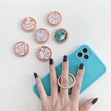 Marmor Zelle Handy Smartphone Finger Ring Ständer Halter Für iPhone 12 Huawei Samsung Blume Runde Montieren Ständer Grip Mädchen