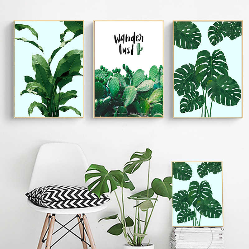 Fresh Green Cactus Big Tropical Leaves Wall Art Canvas Painting Plants Nordic Posters And Prints Wall Pictures For Living Room Painting Calligraphy Aliexpress Download premium png of hand drawn tropical leaves png transparent background by manotang about leaf, plant, botanical, tropical and png tropical leaves watercolor elements, hand painted clipart, diy clip art, free commercial use. fresh green cactus big tropical leaves wall art canvas painting plants nordic posters and prints wall pictures for living room