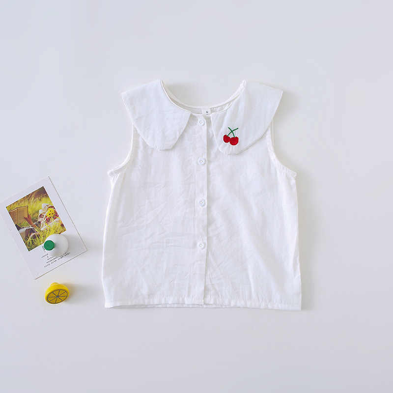 をムー侯 2019 南韓国少女夏の服新スタイルノースリーブシャツネック刺繍桜テンセルベストトップス
