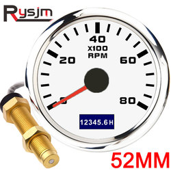 NEW 3K~8K RPM 52mm Tachometer with LCD HourMeter For Car Boat Yacht Waterproof Tacho Meter Gauge Sensor With Red Backlight