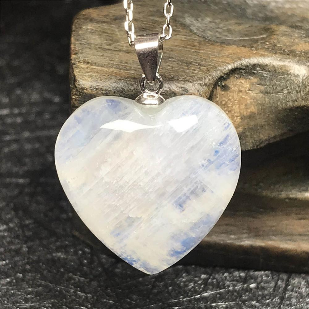 Natural Moonstone Blue Light Heart Pendant Necklace For Women Lady S925 Silver Chain 19x8mm Beads Crystal Necklace Jewelry AAAAA