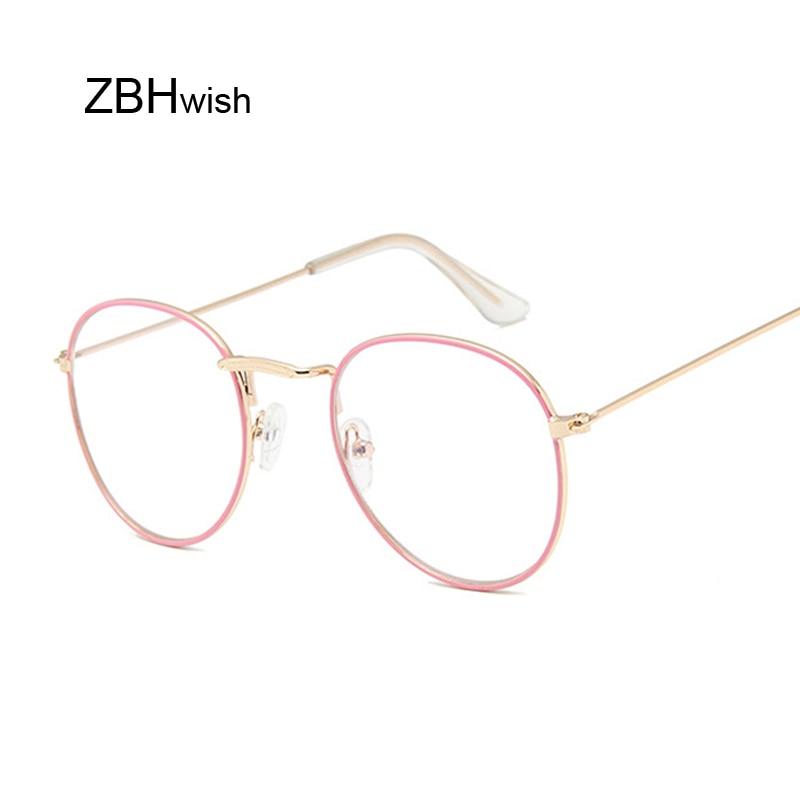 Fashion Vintage Clear Lens Pink Glasses Women Nerd Eyewear Retro Metal Frame Eyeglasses Black Small Round Circle Eye Glasses