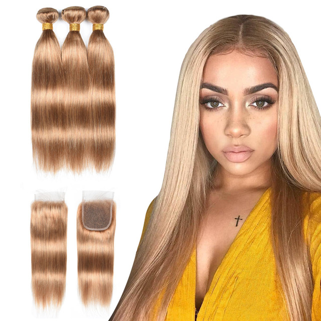 Honey Blonde Bundles With Closure Remy 27 Bundles With Closure Brazilian Hair Weave Straight Human Hair 3 Bundles With Closure 1