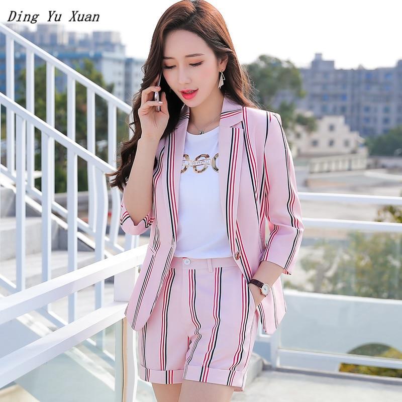 2020 Summer Elegant Striped 2 Pieces Set Shorts and Blazer Womens Short Sleeve Jacket Short Pants Suits Pink White Suite Women