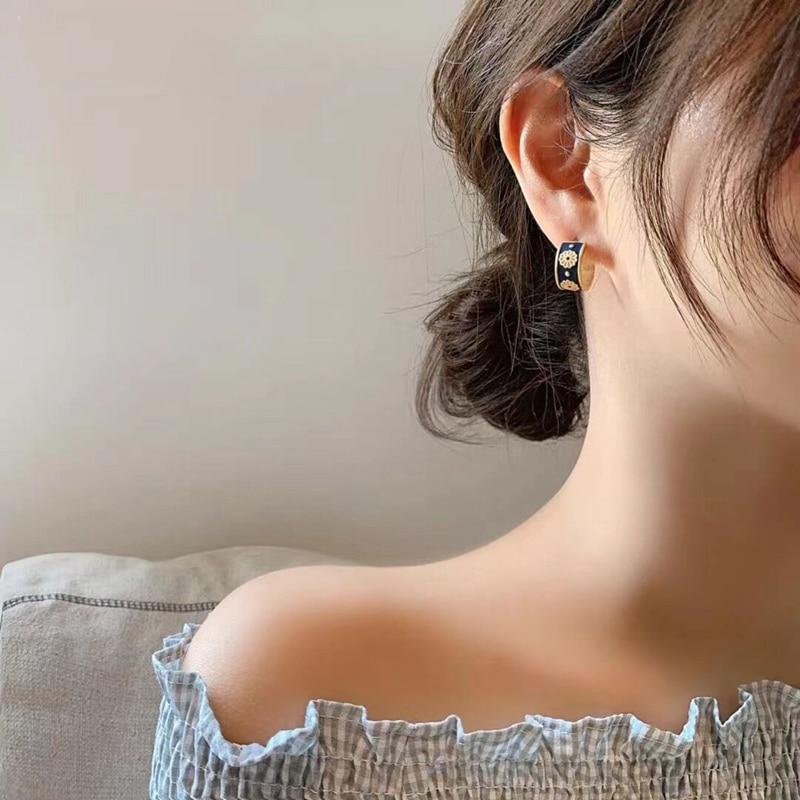 MENGJIQIAO Korean Cute Vintage Flower Enamel Square Round Glaze Stud Earrings For Women Fashion Boucle d'oreille Brincos Jewelry