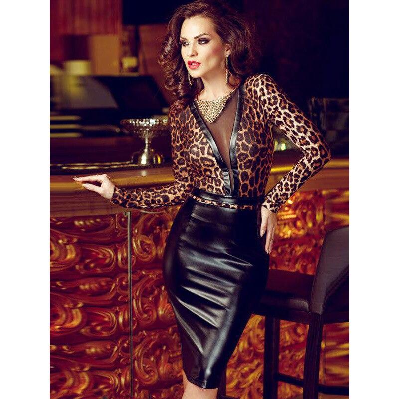 Femmes Mini robe léopar Sexy en cuir PU moulante noir élégant crayon robes de soirée Vestidos pure maille à manches longues robes de Club