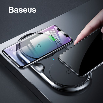Baseus 10W Dual Seat Qi Wireless Charger For iPhone X 8 XR Samsung S10 S9 Note 9 10 Huawei P30 P30pro Fast Wireless Charging pad