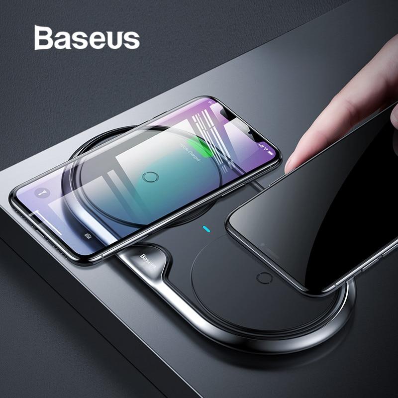 Baseus 10 w assento duplo qi carregador sem fio para iphone x 8 xr samsung s10 s9 nota 9 10 huawei p30 p30pro rápida almofada de carregamento sem fio