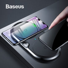 Baseus 10W Dual Seat Qi Wireless Charger For iPhone X 8 XR Samsung S10 S9 Note 9 10 Huawei P30 P30pro Fast Wireless Charging pad(China)