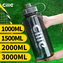 Cille Brand 1000ml BPA Free Sport Water Bottle with Straw 1L