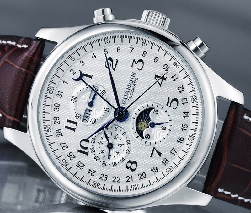H66e4ca7841f240719625fd1aac883a1ad GUANQIN Automatic Mechanical Men Watches Top Brand Luxury Waterproof date Calendar Moon Leather Wristwatch Relogio Masculino A