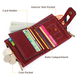 Image 3 - 100% gerçek hakiki deri cüzdan Vintage erkekler kadınlar küçük Trifoldl cüzdan bayanlar para çantası kısa çantalar sikke cep Vallet kırmızı