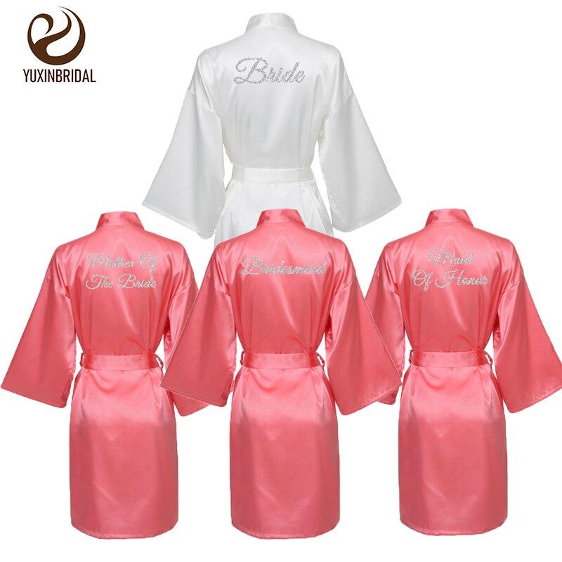 YUXINBRIDAL 2020 New Bridesmaid Robes Bride Robes Bridal Robes Coral Satin Robe  Bridesmaid Robes Wedding Sleepwear