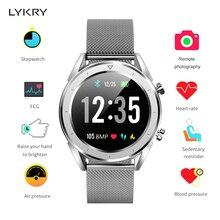 LYKRY ECG PPG Smart Watch Heart Rate Blood Pressure Oxygen Monitor Smartwatch Bluetooth Watches IP68 Waterproof Fitness Tracker цена 2017