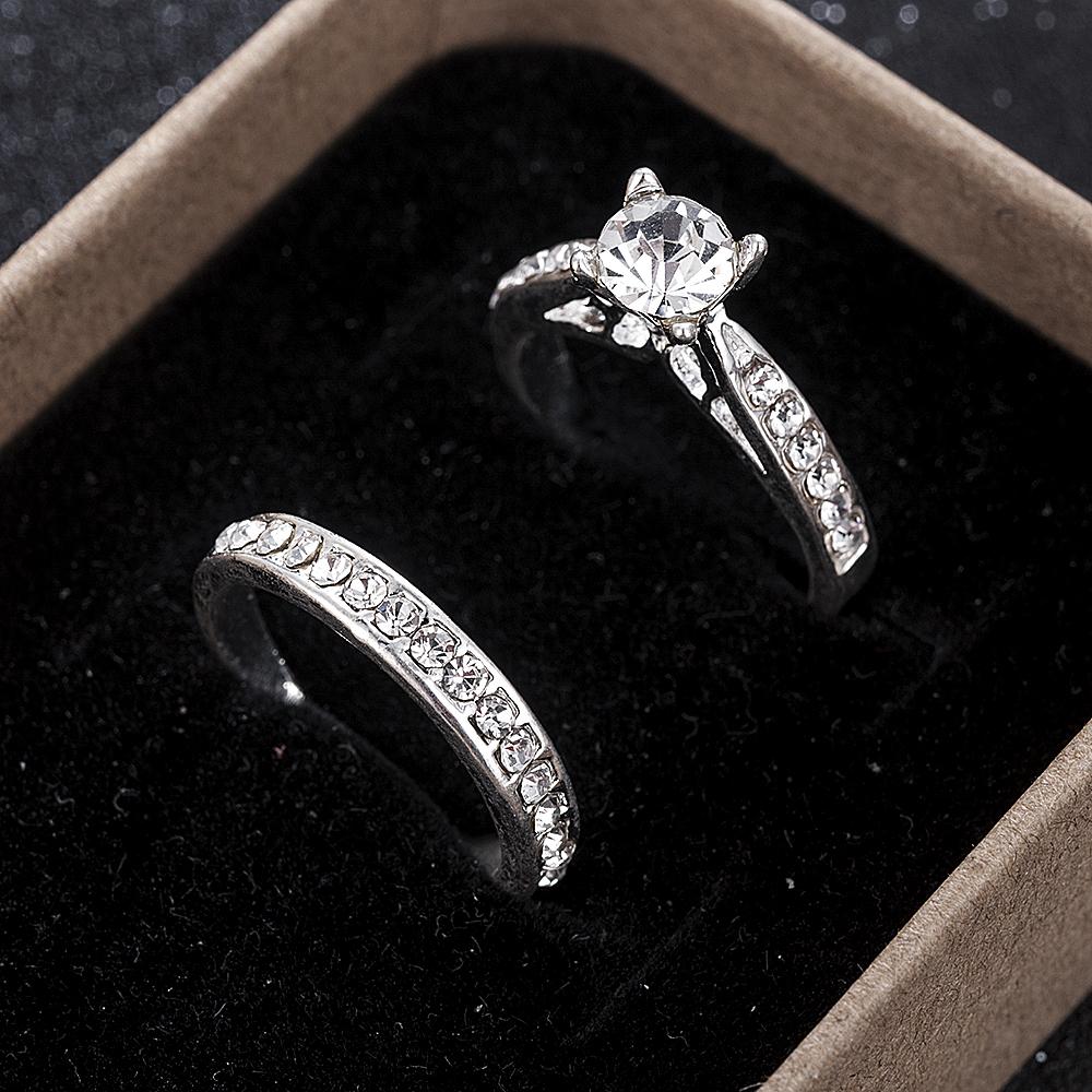 2Pcs/set Charm Lovers Ring Bijoux Femme Fashion Jewelry Bijoux Crystal Engagement Wedding Rings For Women Men Anel
