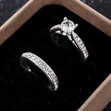 2Pcs/set Charm Lovers Ring Bijoux Femme Fashion Jewelry Bijoux Crystal Engagement Wedding