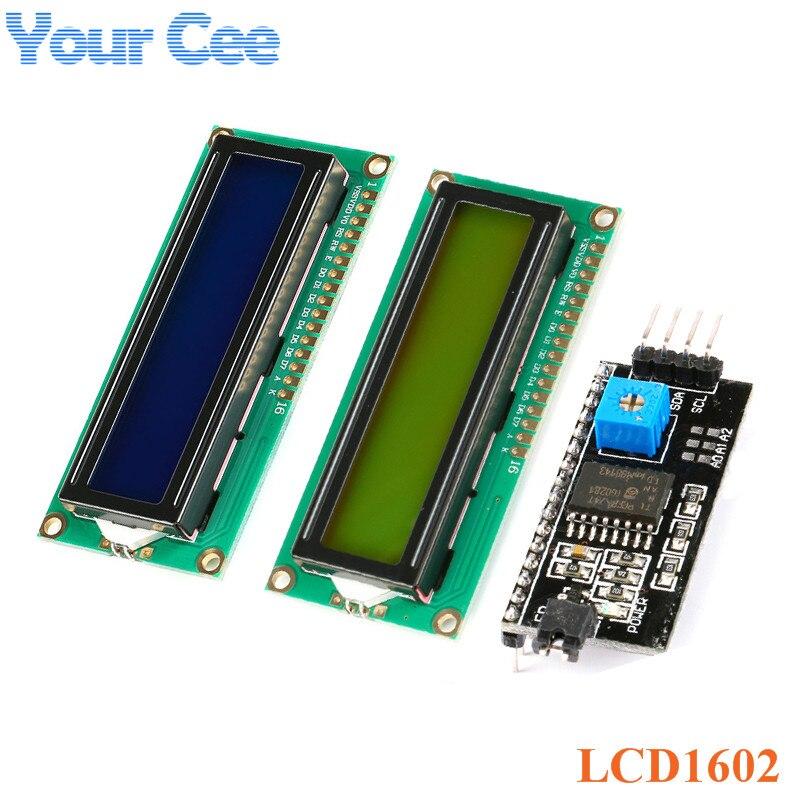 ЖК-дисплей модуль 1602 синий желто-зеленый Экран межсоединений интегральных схем/I2C ЖК-дисплей 1602 5В адаптер пластина 1602A Дисплей модуль для ...