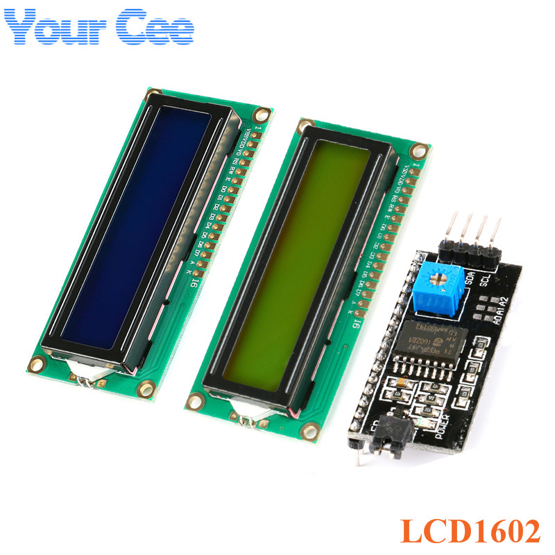 LCD Module 1602 Blue Yellow-Green Screen IIC/I2C LCD1602 5V Adapter Plate 1602A Display Module For Arduino
