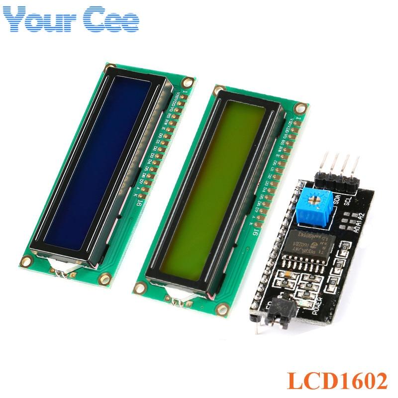 LCD Module 1602 Blue Yellow-Green Screen IIC/I2C LCD1602 5V Adapter Plate 1602A Display Module For Arduino