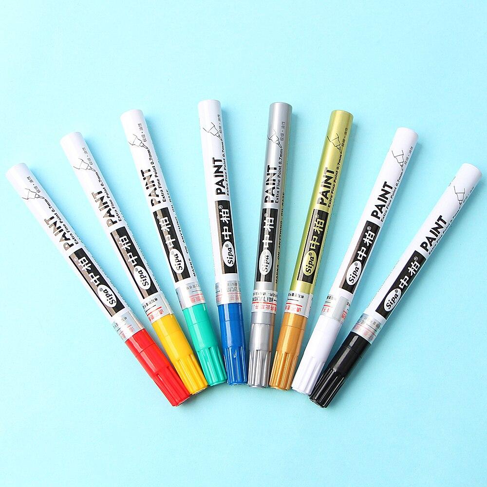 Permanent Pen 8 Colors Metallic Needle Marker Pen Fine Point Paint Non-Toxic