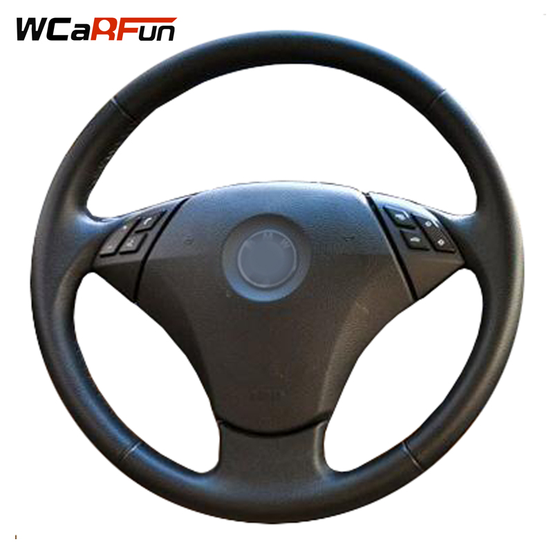 WCaRFun Black Genuine Leather Car Steering Wheel Cover for <font><b>BMW</b></font> <font><b>E60</b></font> E61 520i 520li 523 523 523li 525 525i 530 530i 535 <font><b>545i</b></font> image