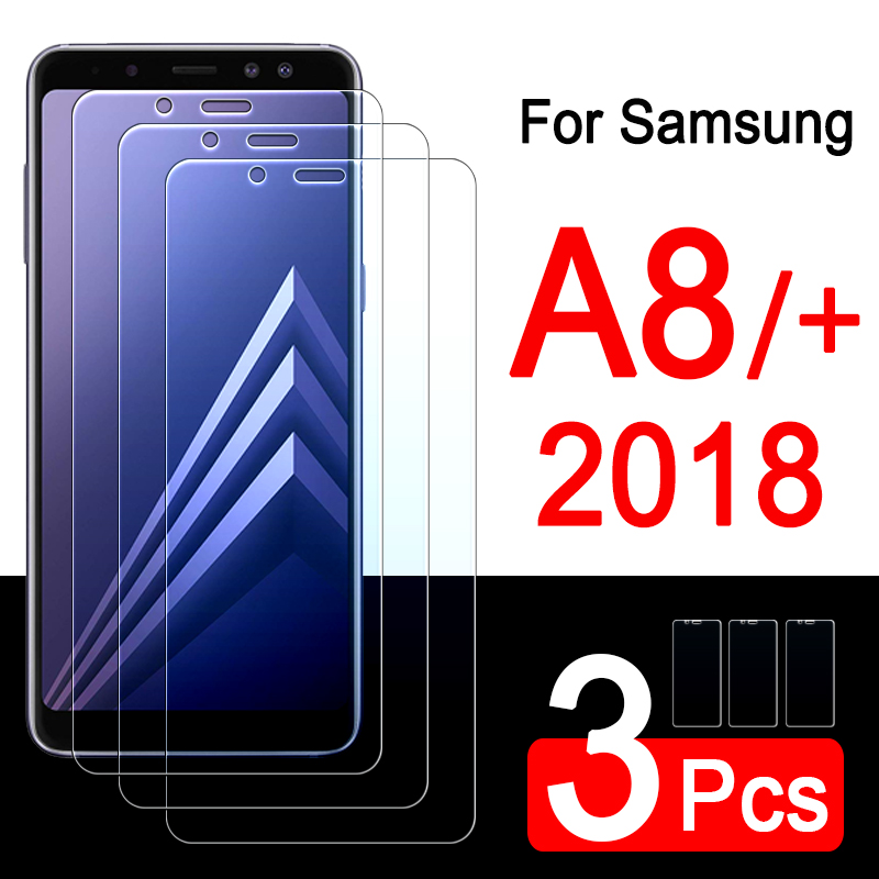 3pcs Protective glass on for Samsung galaxy a8 plus 2018 a8plus a 8 8a <font><b>a82018</b></font> glaxay tempered glas screen protector tremp film image