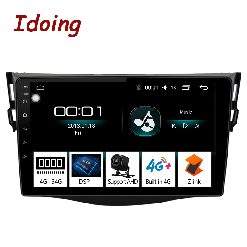 Idoing 92.5D 4G+64G Car Android8.1 Radio Multimedia Player For Toyota RAV4 2007-2011 GPS Navigation and Glonass DSP NO 2DIN DVD image