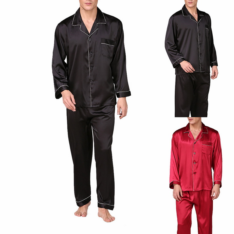 SHUJIN Men's Stain Silk Pajama Set Men's Sleepwears Men Sexy Soft Homme Cozy Satin Nightgown Casual Lounge Pajama Nightwear