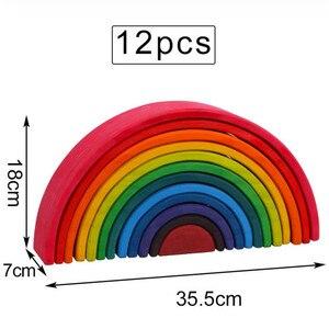 Image 4 - ของเล่นเด็กขนาดใหญ่Rainbow Stackerไม้ของเล่นสำหรับเด็กCreative Rainbow Building Blocks Montessoriของเล่นเพื่อการศึกษาเด็ก