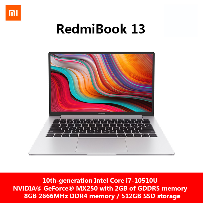 Original Xiaomi RedmiBook13 Laptop 13.3 Inch Intel Core I7-10510U NVIDIA GeForce MX250 GPU 8GB RAM DDR4 512GB SSD Win10 NoteBook