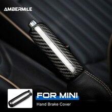 AMBERMILE wnętrza z włókna węglowego samochodowy hamulec ręczny uchwyt listwa wykończeniowa dla Mini Cooper R55 Clubman R55 R56 R58 R59 R50 R52 akcesoria