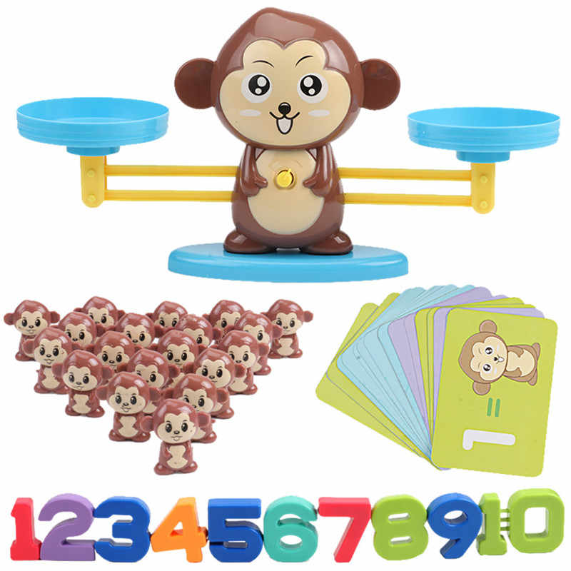 Math Match Game Board Toys Monkey Digital Balance Scale Toy Kids Educational Toy  Addition Subtraction Math Toys