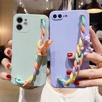 Funda suave de silicona líquida para la muñeca, funda con cadena para la muñeca funda de teléfono para Xiaomi Mi 8 9 SE 9T 10Lite 10T Pro 10S 11 Lite CC9E A2 A3
