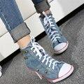 Женская джинсовая парусиновая обувь QWEDF  модная обувь на высоком каблуке с заклепками  удобные женские туфли на высоком каблуке  2019