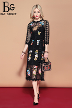 Baogarret 2019 Spring Fashion Runway Casual Vintage Black Dress Women's Gorgeous Hollow out Embroidered Flower Lace Dress цена и фото