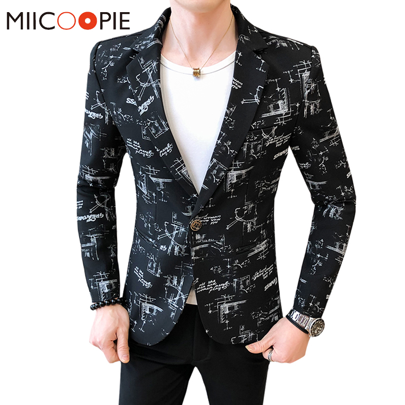 Multiple Colour Slim Fit Blazer Masculino 2020 Brand Geometric Figure Printed Men Blazer Jacket Fashion Formal One Button Suits