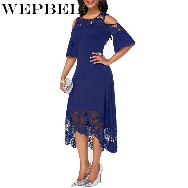 Women Plus Size Summer Lace Floral Dress Ladies Short Ruffles Sleeve Off Cold Shoulder O Neck Party Dress Long Maxi Dress 5XL 5