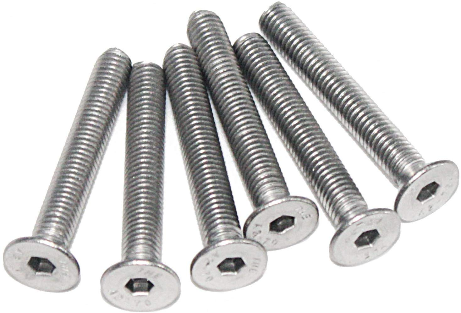 Fullerkreg 18-8 Stainless Steel Hex Drive Flat Head Screw M6 x 1 mm Thread 65 mm Long,Packs of 10