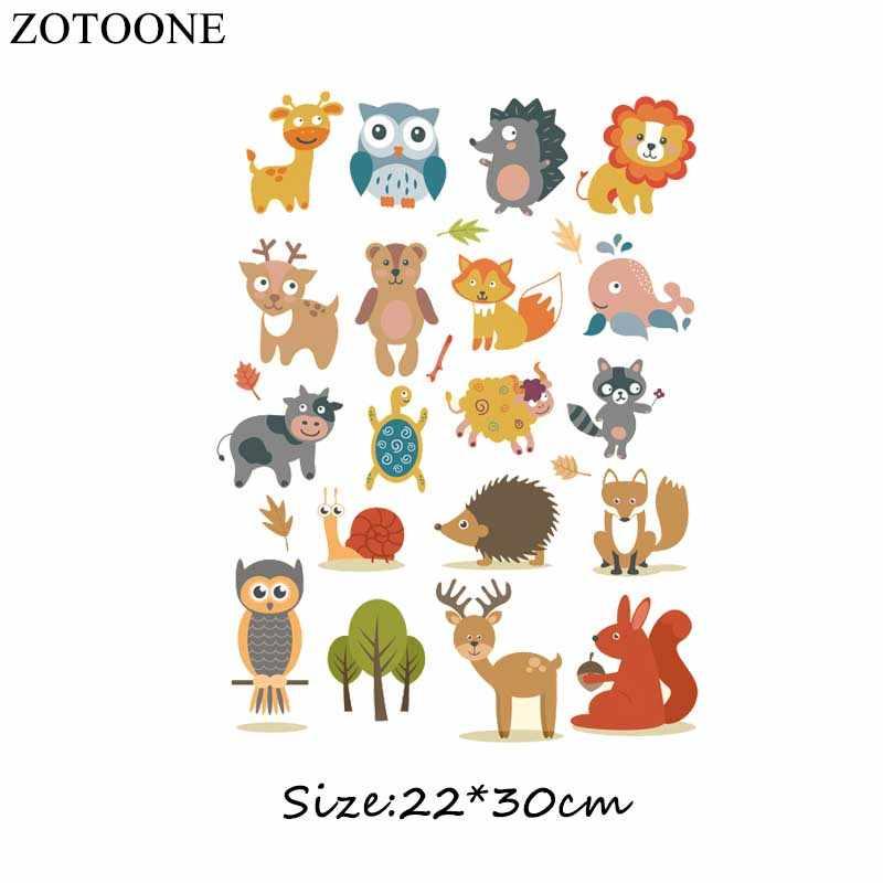 ZOTOONE Cartoon Tier Patches Set A-niveau Waschbar DIY Zubehör Dekoration Kleidung Eisen-auf Transfers Patches Geschenk für kinder D