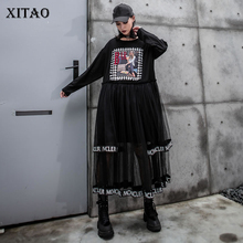 Xitao Tij Mesh Patchwork Midi Jurk Brief Afdrukken O Hals Lange Mouw Mode Losse Casual Plus Size Jurk Vrouwen 2019 ZYQ1947