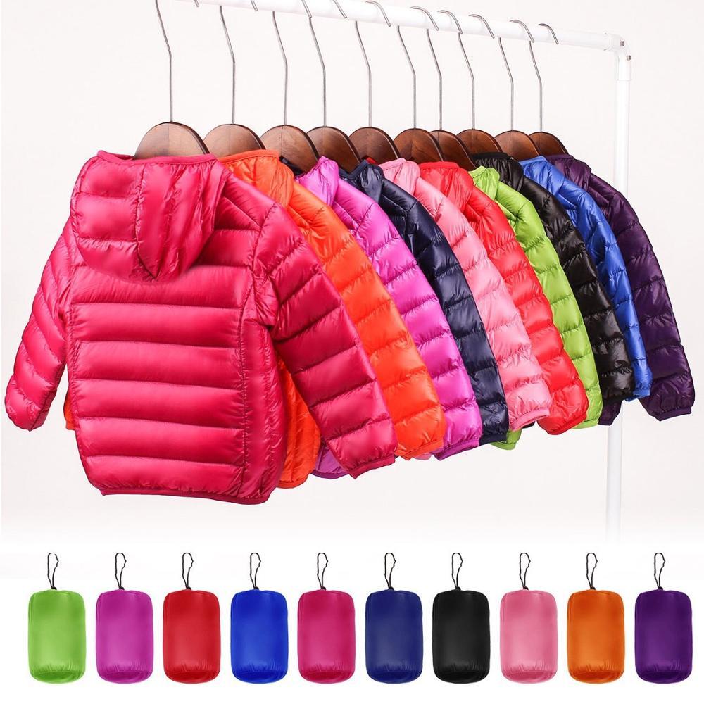 90% пуховик на утином пуху зимняя куртка-пуховик Для мальчиков и девочек, для маленьких детей, легкое пальто с капюшоном тонкая теплая больши...
