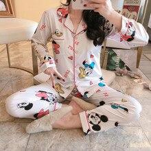 Cartoon Mickey Print Lapel Pajama Sets For Women Smooth Cott