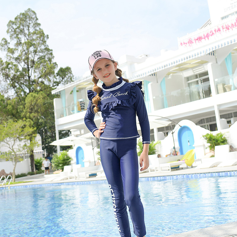 2019 New Style Split Type Children WOMEN'S Swimsuit Solid Color Lettered-Flash Long Sleeve Sun-resistant Beach Casual BEEKING