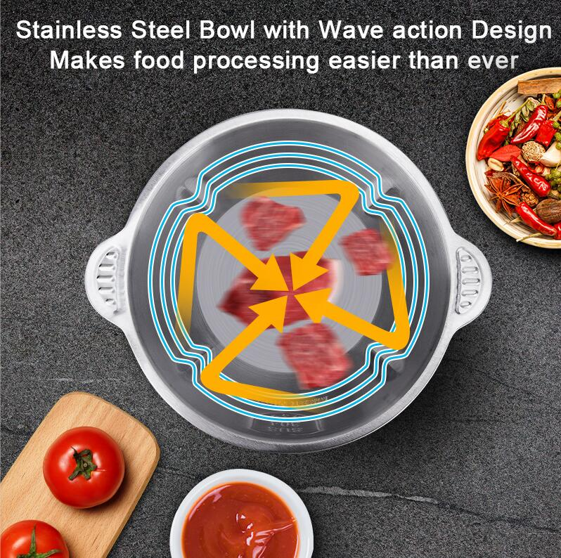 Factory price 500W 2 Speed Stainless steel 2L Capacity Electric Chopper Meat Grinder Mincer Food Processor Slicer-5