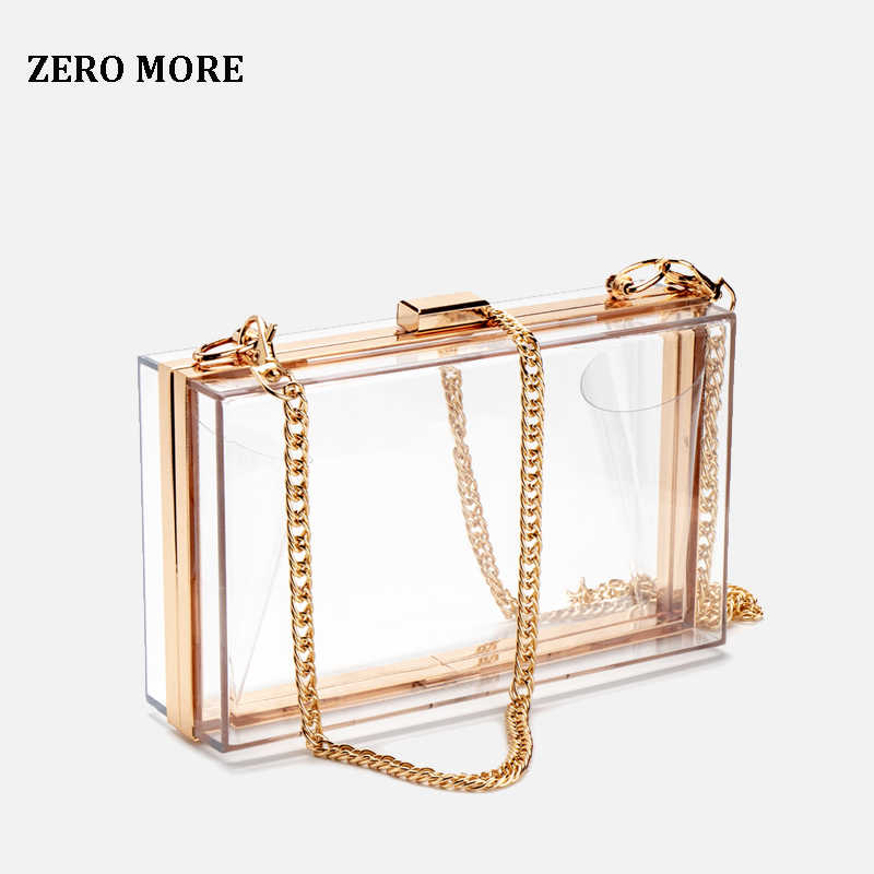 Women Acrylic Clear Clutch Transparent Crossbody Purse Evening Bag Sport Events Stadium Approved Chain Strap Gold/Silver