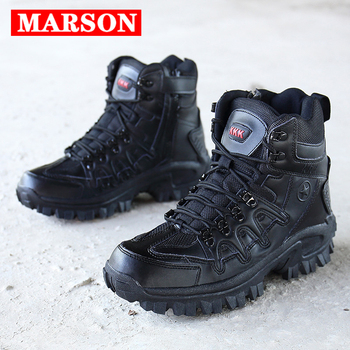 MARSON Men Military Boots Camouflage Non-Slip Combat Tactical Boots Male Breathable Outdoor Climbing Wear-Resisting Men's Shoes