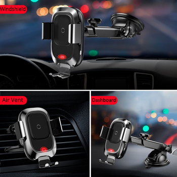 Baseus Car Phone Holder for iPhone Samsung Intelligent Infrared Qi Car Wireless Charger Air Vent Mount Mobile Phone Holder Stand 2